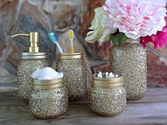 Piece Gold Glitter Bathroom Set Mason Jar Bathroom Set - Metallic gold bathroom accessories
