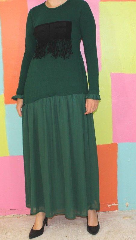 robe longue à frange vert sapin T38-40 kg vintage retro chic romantique  2c25888e6e5d