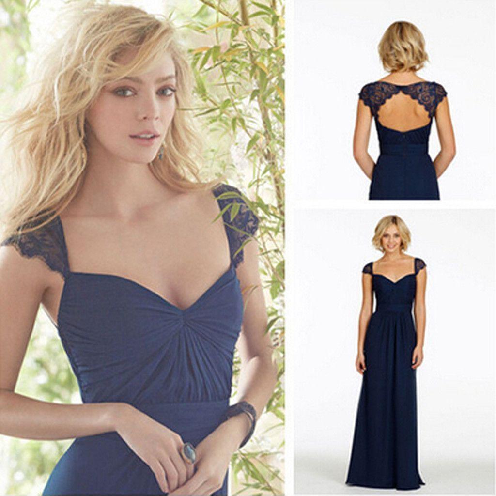 Cap sleeve open back lace sweet heart chiffon navy blue formal cheap