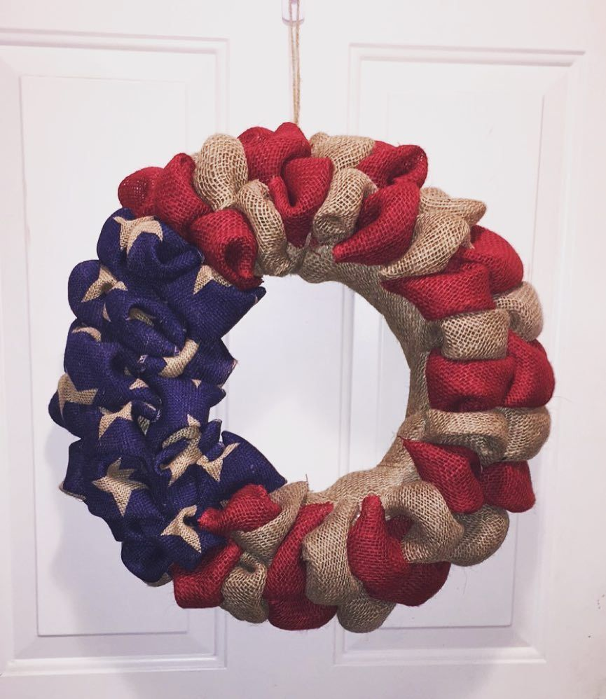 American flag wreath made for myself!  Up for grabs though and I do have more :) #burlapandlace #burlapwreath #burlap #wreath #america #american #americanflag #patriotic by burlapandlace_wreaths