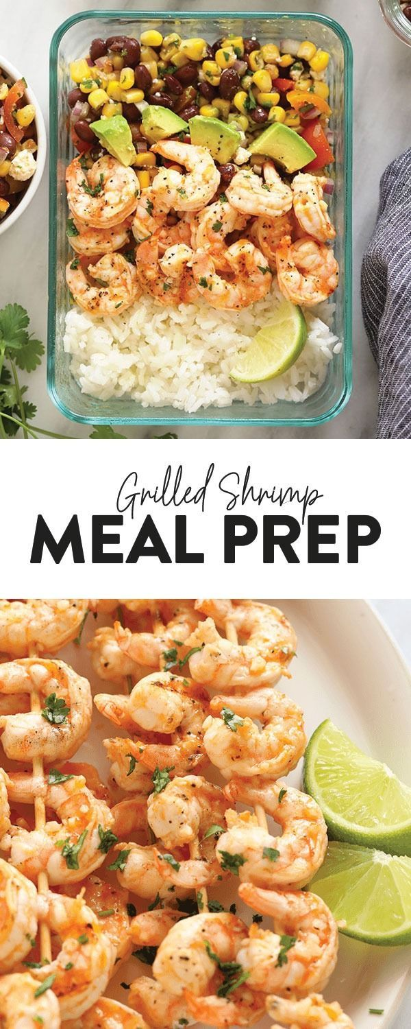 Fresh Grilled Shrimp Meal Prep Bowls - Fit Foodie Finds