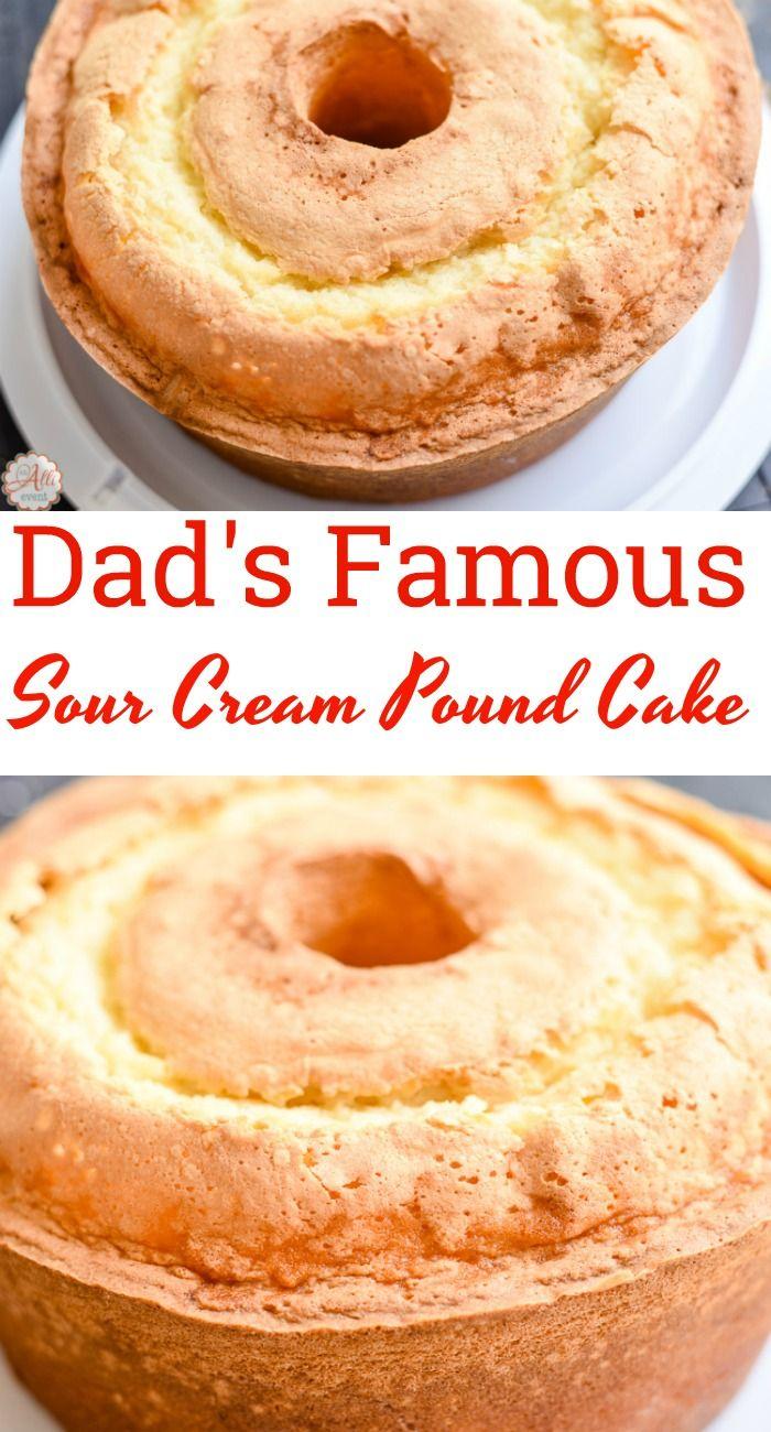 Dad's Sour Cream Pound Cake and Lemon Glaze