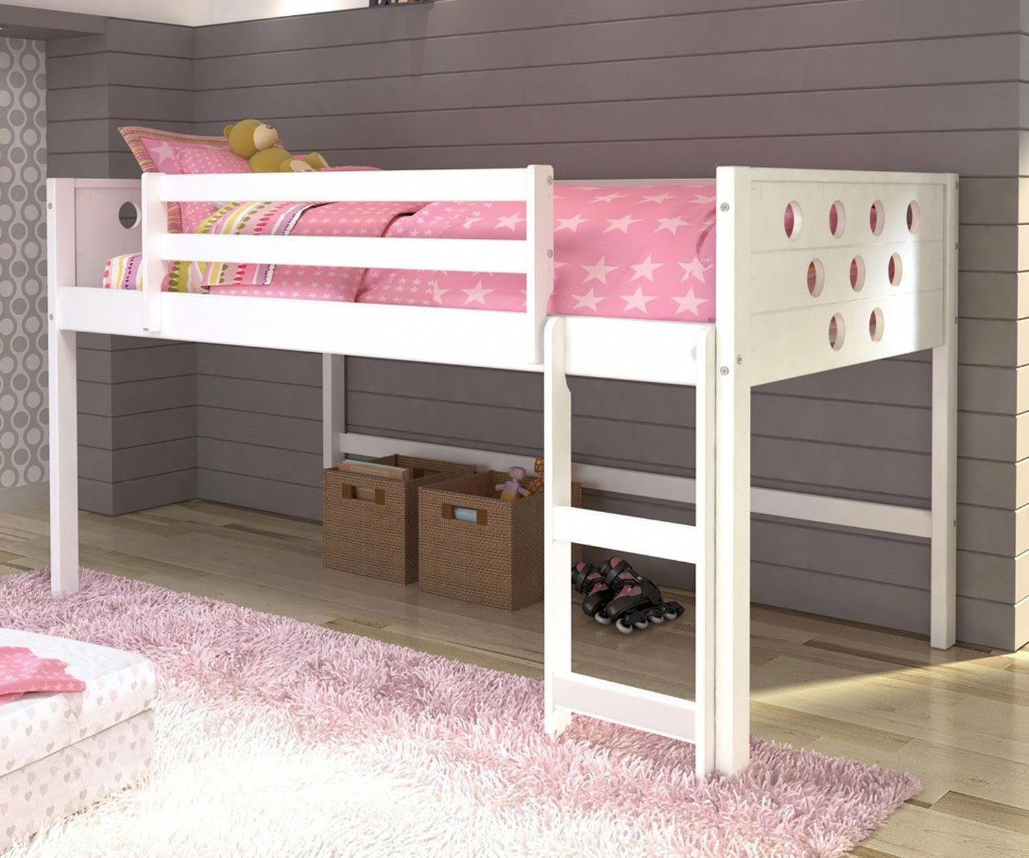 Loft bed with desk girls  White Twin Circles Low Loft Bed bunkbedwithstairs  Bunk Bed with