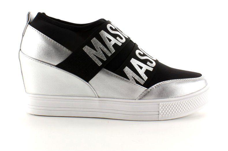 Sportowe Damskie Obuwiedamskie Szare Czarne Biale Sneakers Na Koturnie Jk11p Silver Obuwie Damskie Shoes Sneakers Fashion