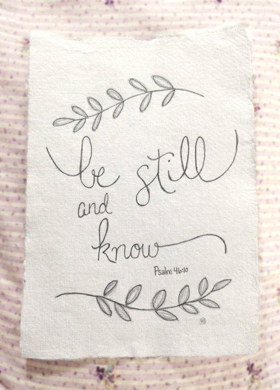 Custom Hand Drawn Scripture Art Psalm 46:10 by LovelyIntentions