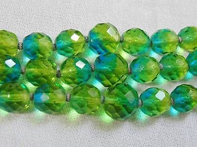Vtg HATTIE CARNEGIE Blue Green Venetian Art Glass 3 Strand Bead Necklace SUPERB
