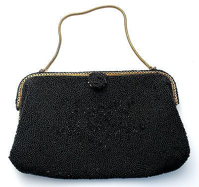 Vintage French Black Hand Bag Beaded Purse C M Caron Silk Lining Brass Frame