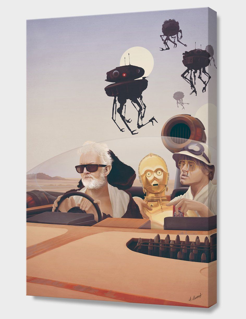 Fear and Loathing on Tatooine Canvas Print by Anton Marrast. This art, manually numbered, signed, and shipped with a certificate of authenticity, is available on Canvas Prints or Fine Art Paper, both framed or unframed depending on purchase selection. (Black and white frames are made from durable wood with a satin finish.) Curioos takes the greatest care to ensure high quality finishes. They firmly guarantee that all prints stay true to the artist's original vision. Canvas Prints:Fine Art…