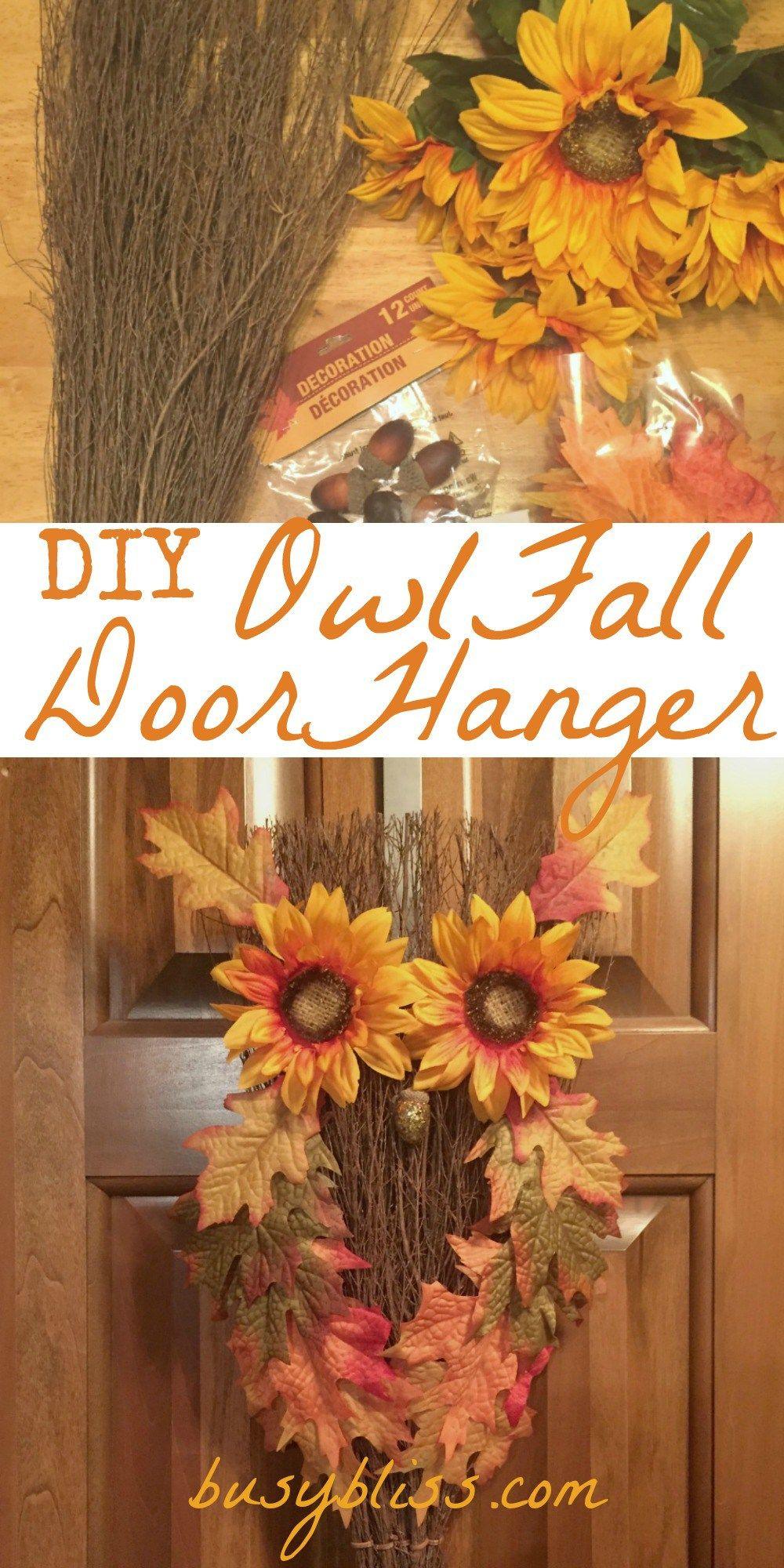 DIY owl fall door hanger