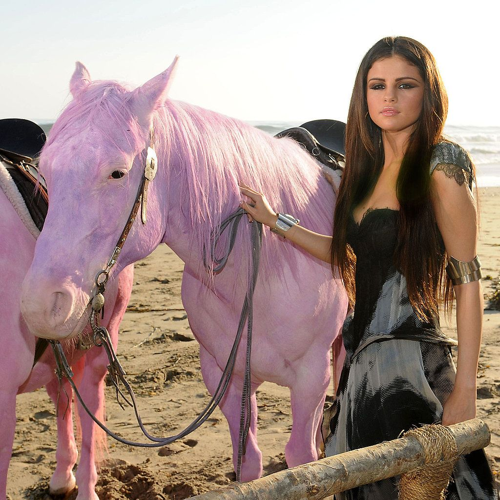 Selena Gomez and Pink Horse. For a photo shoot or music video???