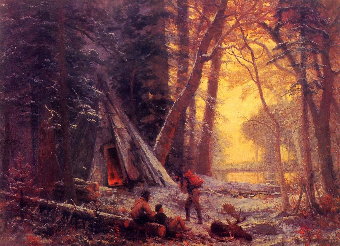 Bierstadt Albert Moose Hunters- Camp - Albert Bierstadt - Wikimedia Commons