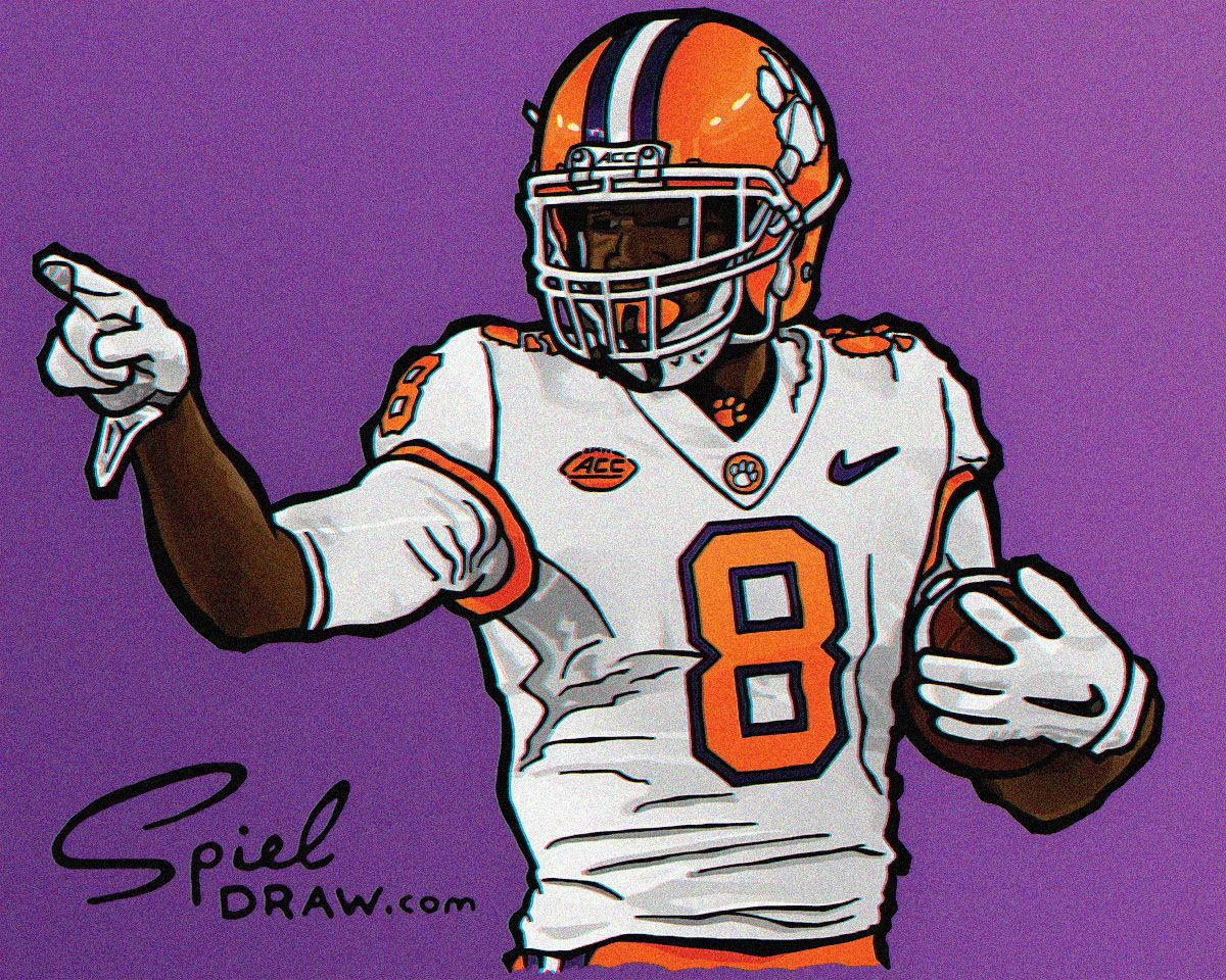 Digital Illustration Of Clemson Wide Receiver Deon Cain Created With Procreate And Photoshop Nfl Football Art College Football Art Clemson Tigers Football