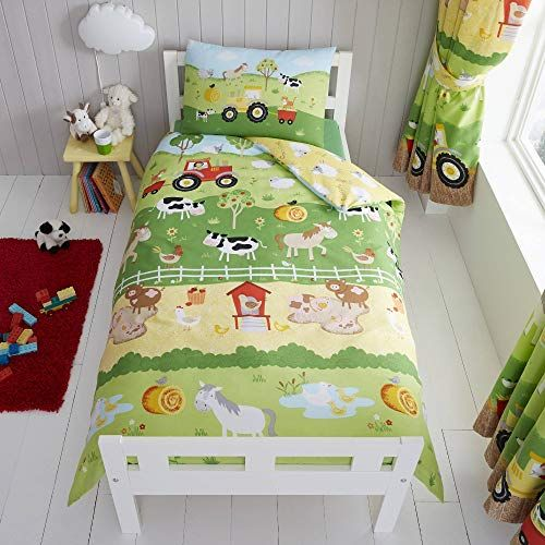 Photo of Happy Linen Company Childrens Boys Girls Farm Animals Counting Sheep Green Yellow Reversible Toddler Bedding Duvet Cover Set | Best UK Mattress Store Online