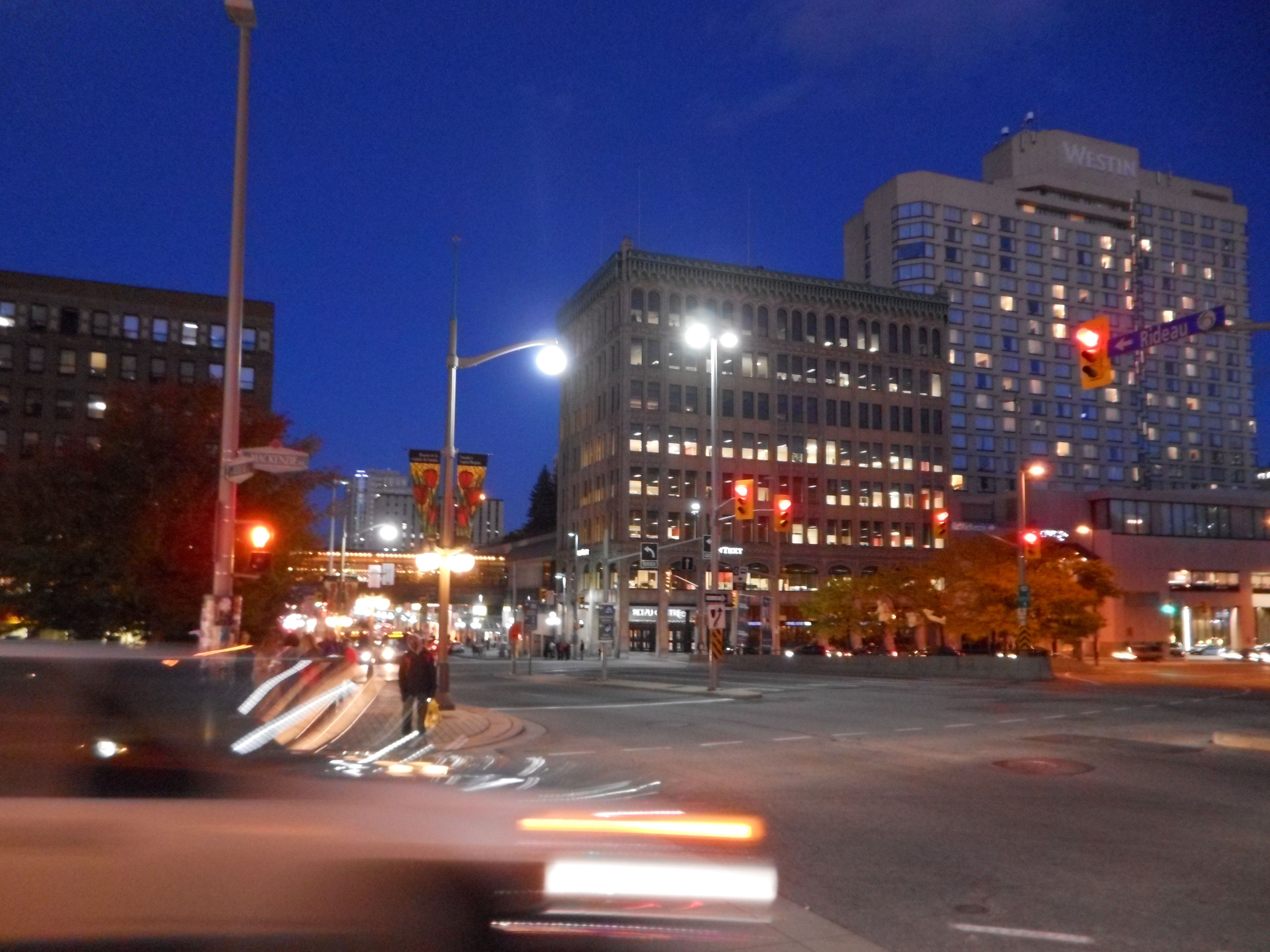 One of the main streets of Ottawa at dusk. Canada travel