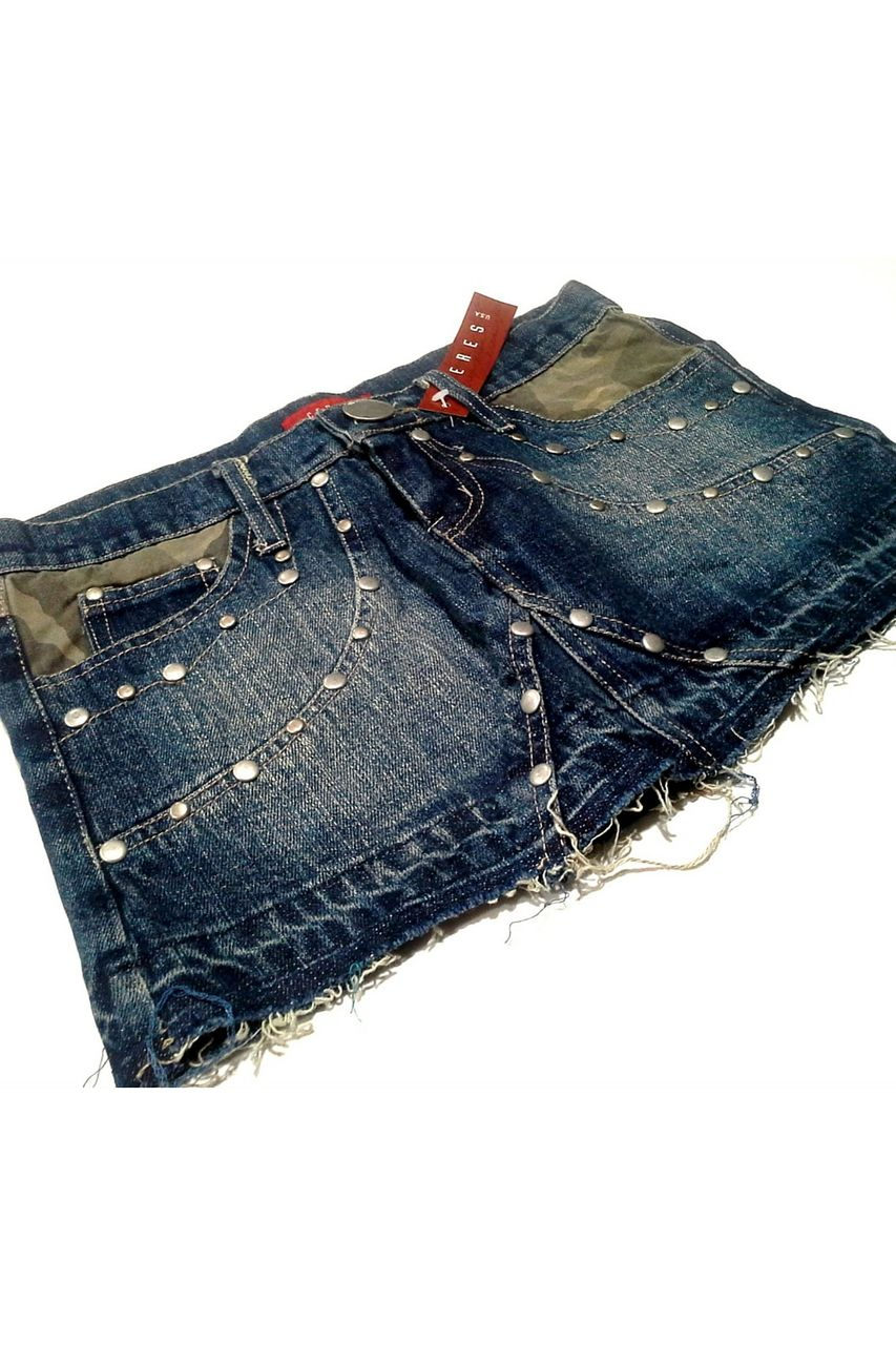 100% Cotton. Short Denim Skirt with Camo Lined Pockets & Silver Grommets. - 5dollarfashions.com