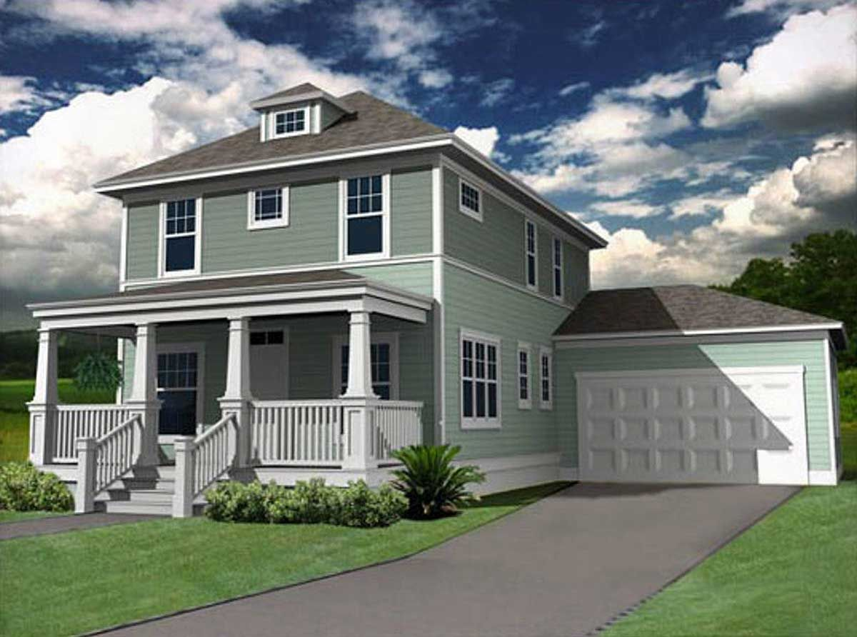 Plan 50144ph Classic Four Square House Plan In 2021 Square House Plans Craftsman Style House Plans Garage House Plans
