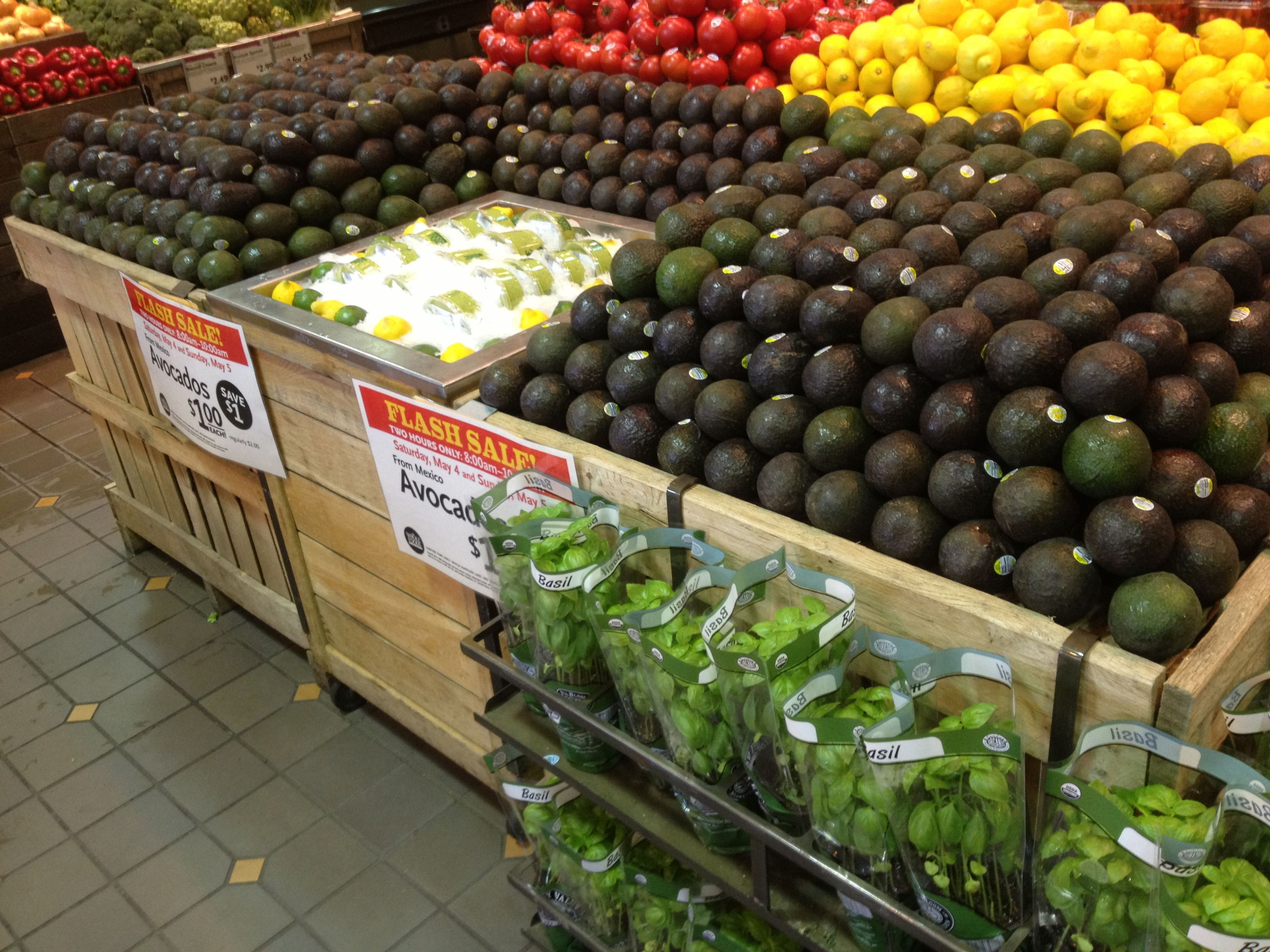 Whole foods produce department Fruit and vegetable