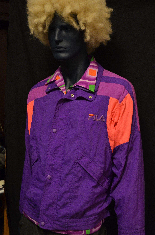 Vintage Fila Track Jacket Neon Retro Hip Hop Style 1980s 90s Fresh Gear Wind Breaker Purple Orange Active Festival Outfits Hip Hop Outfits Hip Hop Fashion