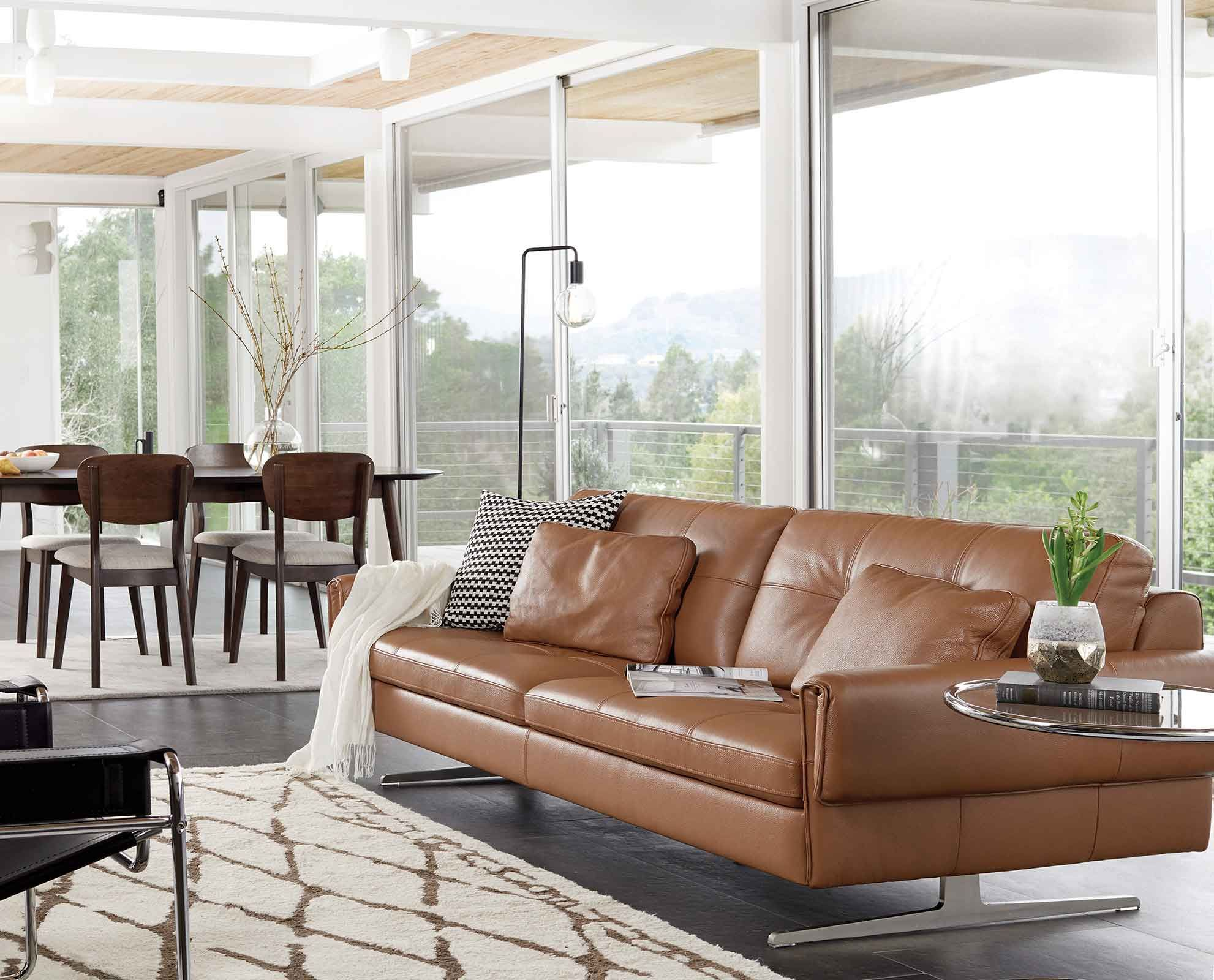 Dania Distinguished Style Characterizes The Clementi Sofa Featuring A Unique Profile With Detailed Stitching Sofa Design Top Grain Leather Sofa Leather Sofa