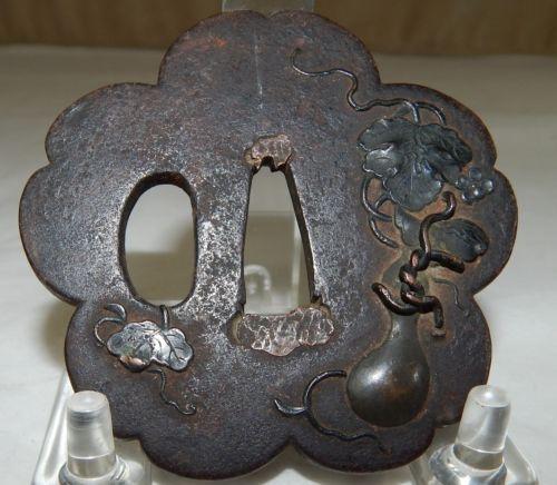 Japanese Bronze Tsuba - Fruit and Vines