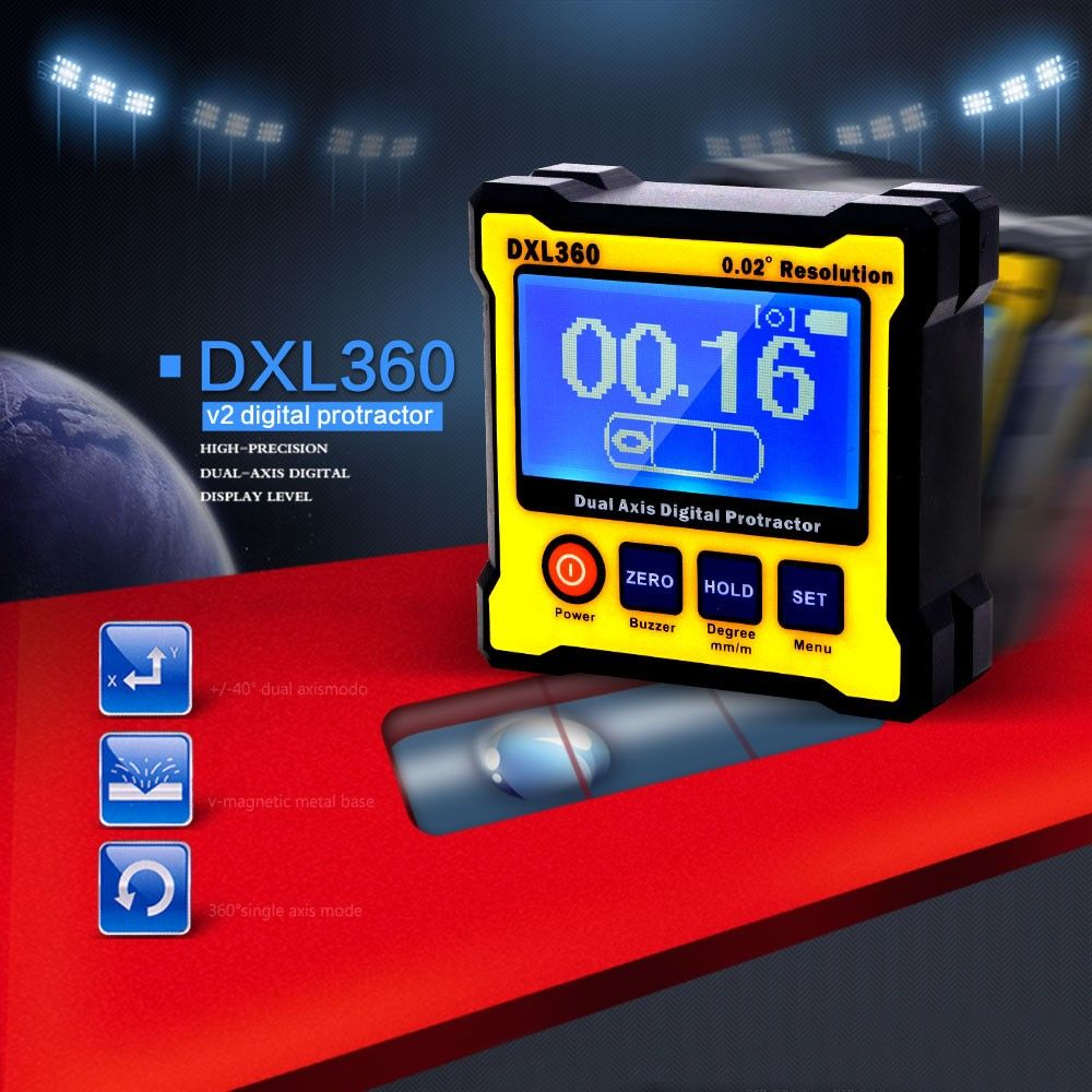 DXL360 Dual Axis Digital Angle Protractor with 5 Side
