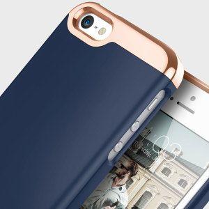 quality design 976d1 da2b1 Caseology Savoy Series iPhone SE Slider Case - Navy Blue / Rose Gold ...