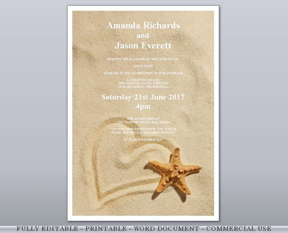 Heart In Sand Starfish Beach Editable Printable Wedding Invites