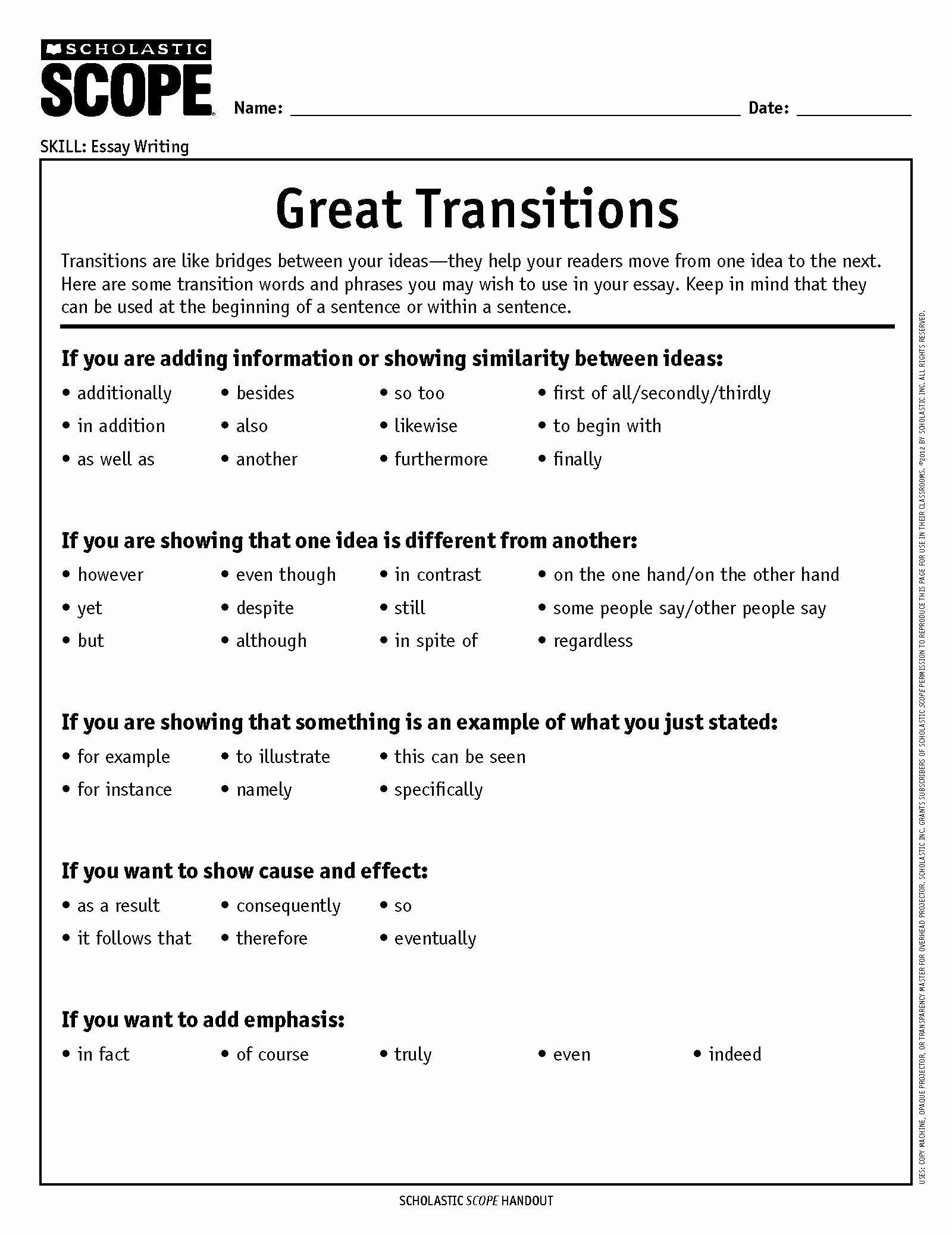 Argumentative Essay Transition Words Pdf New How To Choose The Perfect Transition Word Transition Words Transition Words And Phrases Transition Words Worksheet