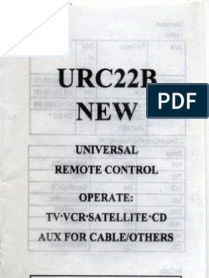 Urc22b 15 Universal Remote Control Instructions Booklet Booklet