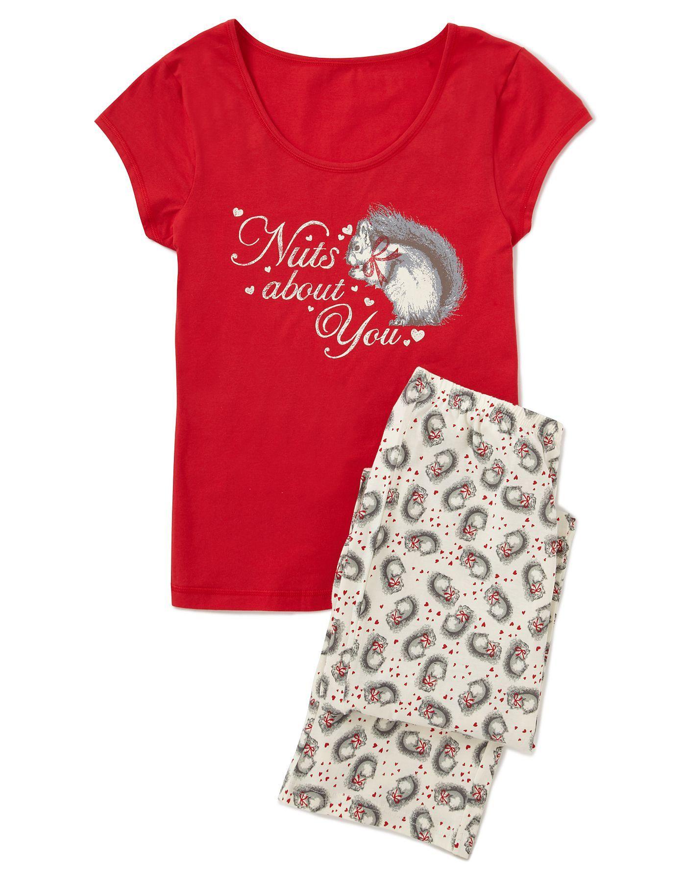 Squirrell Heart Pyjama Set Women at ASDA
