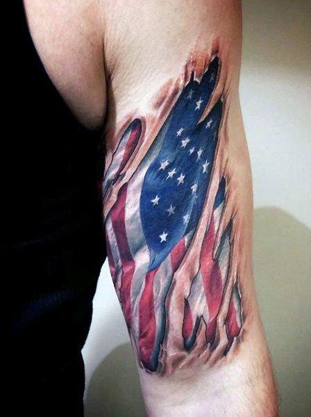9cefe1db72e94 Top 60 Best American Flag Tattoos For Men - USA Designs | Tattoos ...