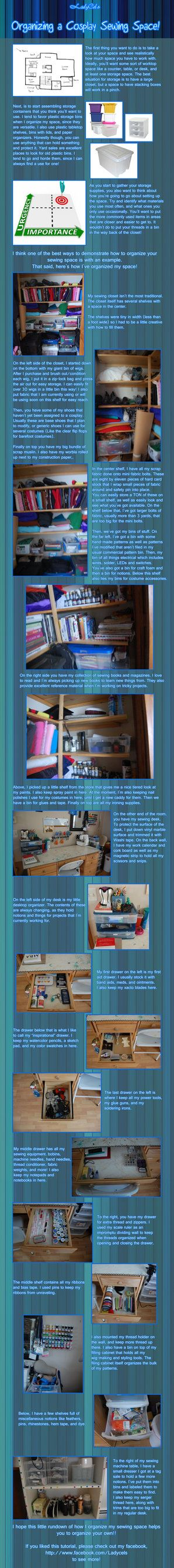 Organizing a Cosplay Sewing Space by DragonLadyCels on deviantART