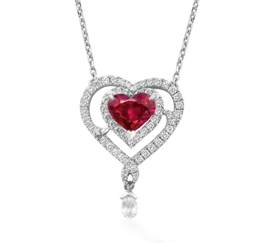 Boodles ruby and diamond heart necklace