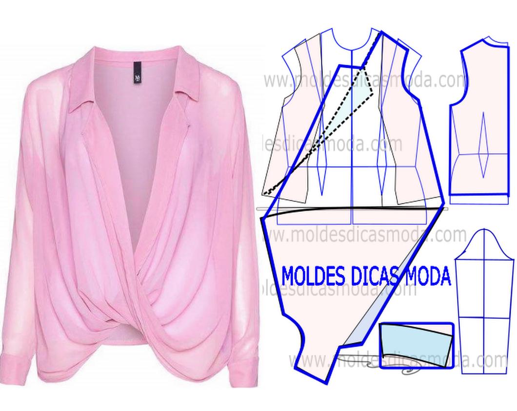 BLUSA TRESPASSE ROSA -101 - Moldes Moda por Medida | Patrones ...