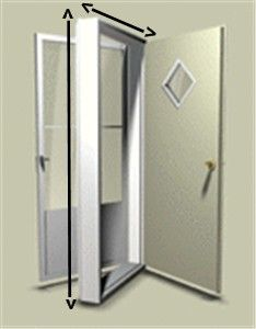 38 X 76 Kinro Combination Exterior Door With 9 Lite Window And White Self Storing Storm