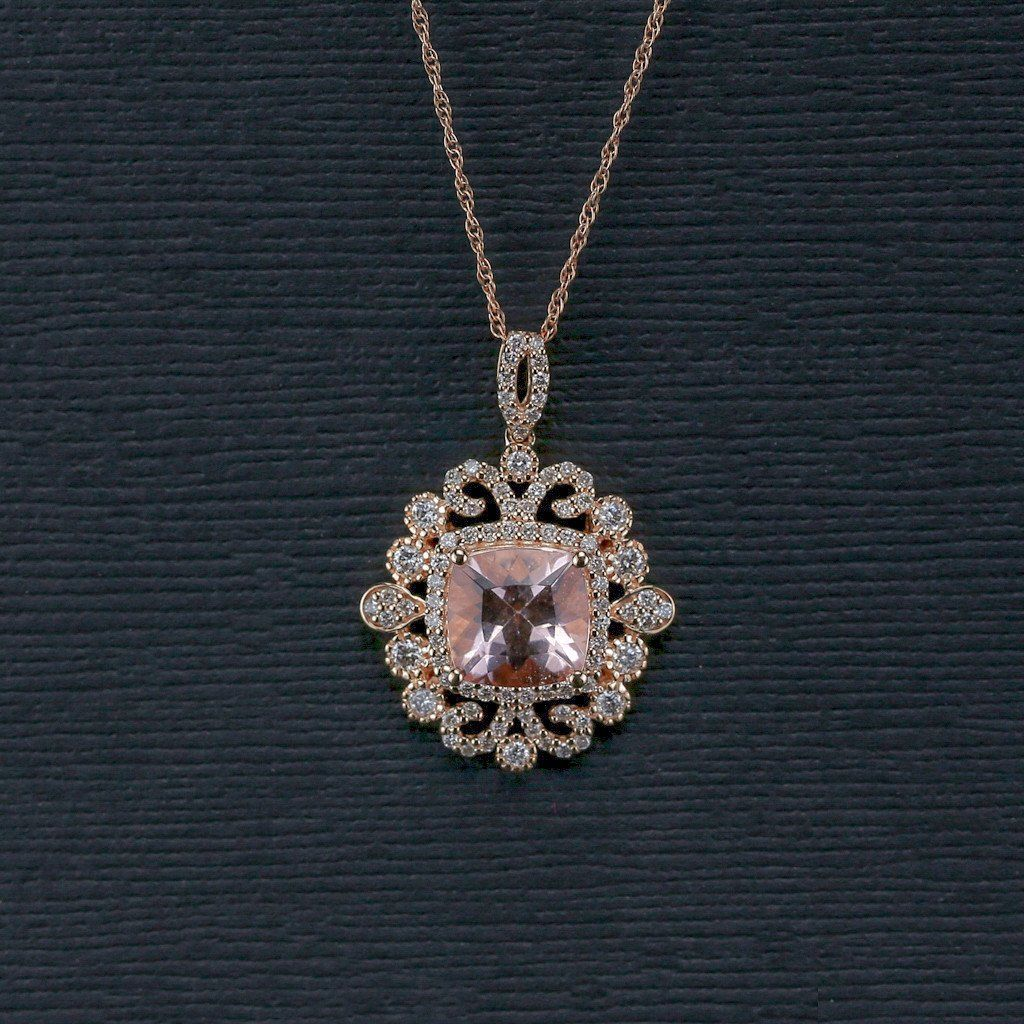 Morganite and Diamond Vintage Style Pendant