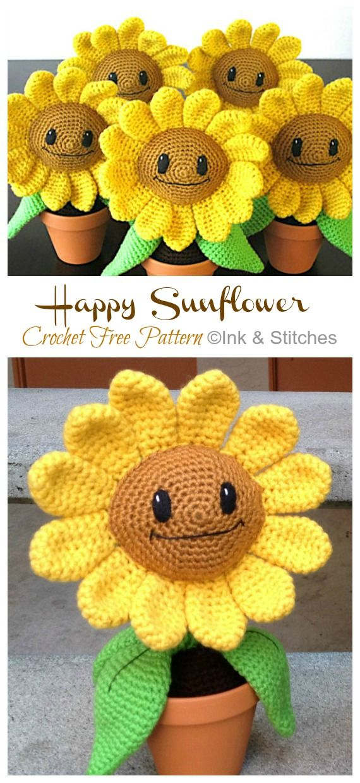 Amigurumi Happy Sunflower Crochet Free Pattern