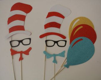 Dr Seuss Inspired Photo booth props Hat Tie Glasses and balloons