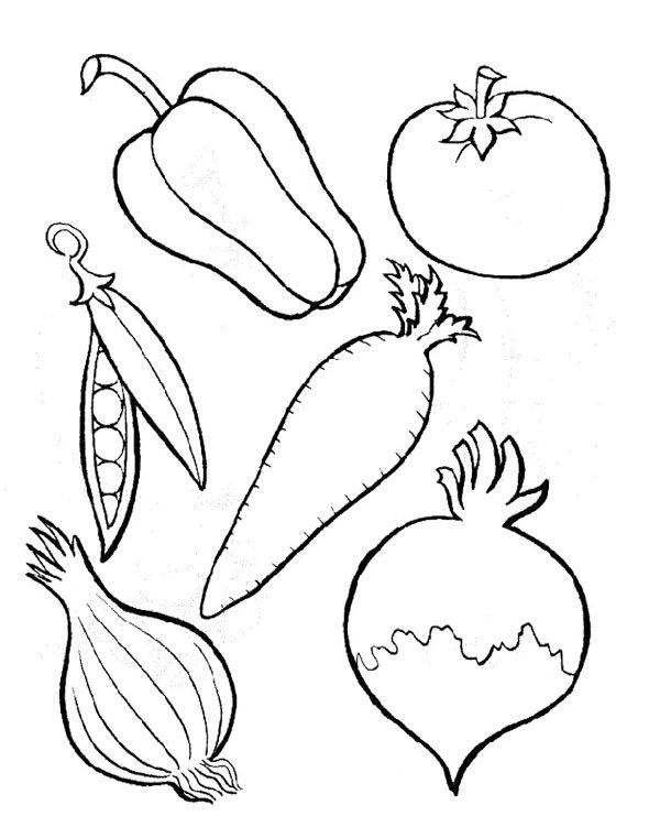 Six Kinds Of Perfect Vegetables Coloring Page Kids