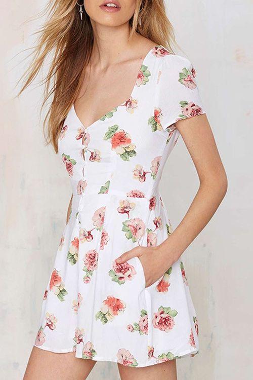 Full Flower Print V Neck Short Sleeve Dress