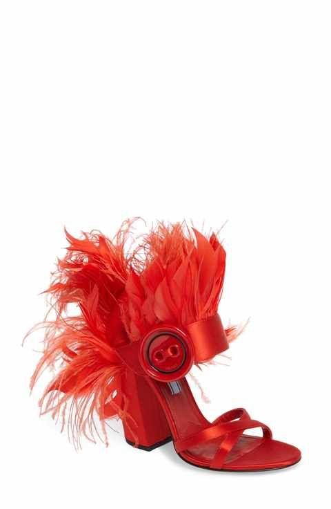 7fe4b758d5f Prada Feather Block Heel Sandal (Women)