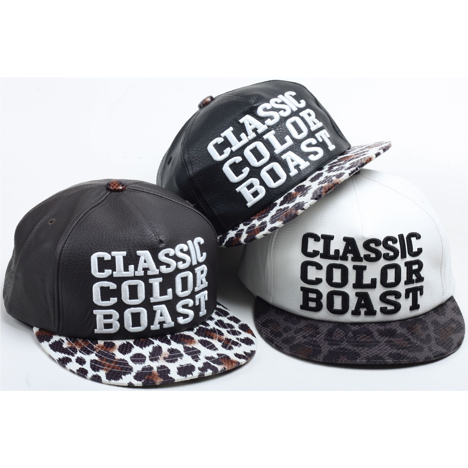 19f3296c H53 Faux Snake Skin Leopard Leather Brim Club Cap HipHop Bill Snapback Flat  Hat