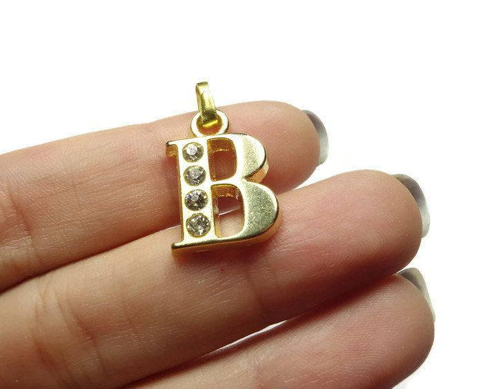 Initial Charm, Letter B - Unique Initial Alphabet Letters, Luster Gold Plated with Rhinestone - CMISCG045-B by FoxyBeadsCo on Etsy