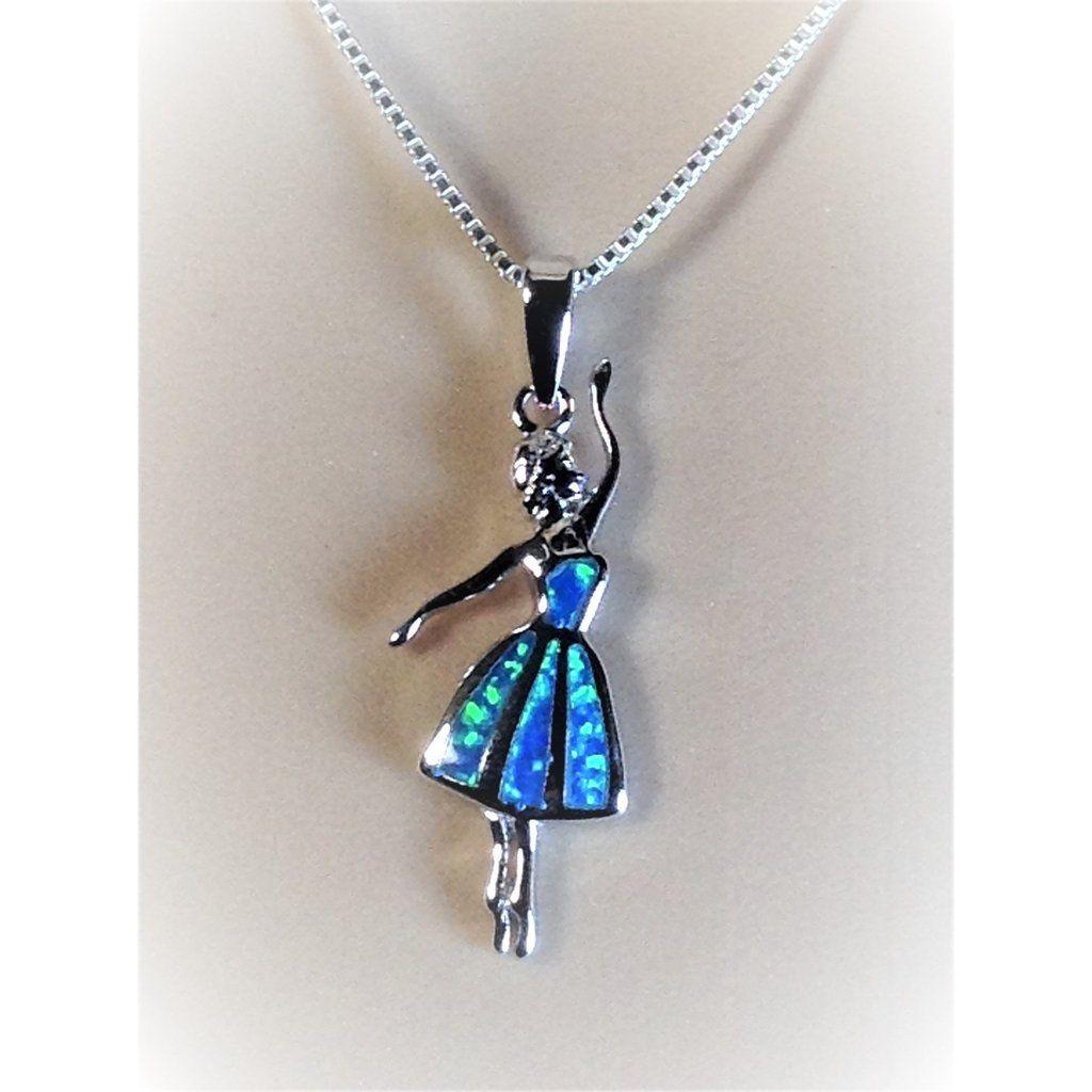 "Sterling Silver Blue Lab Opal Ballerina Pendant Necklace, 18"""