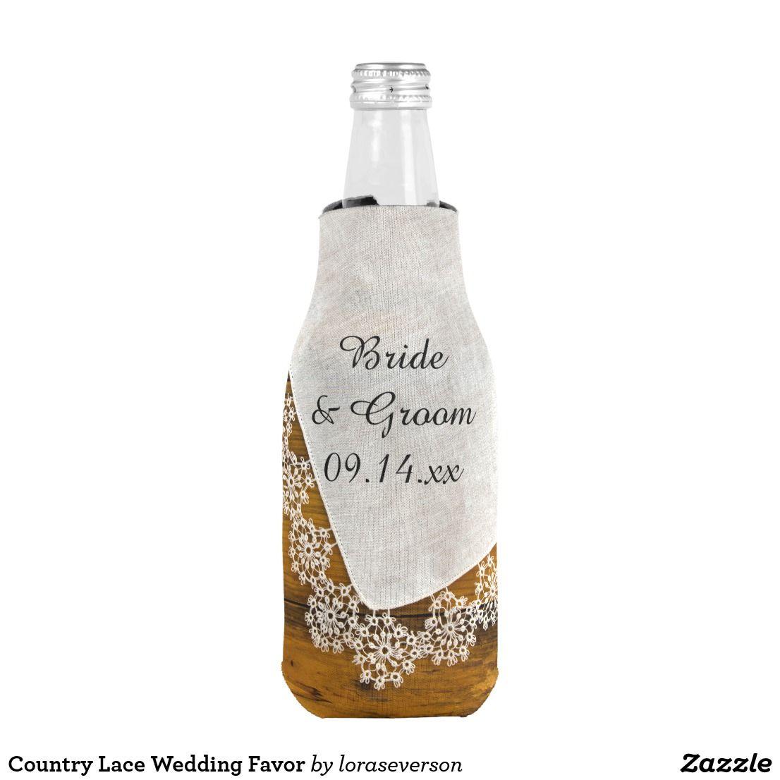 Country Lace Barn Wedding Favor Bottle Cooler | Wedding koozies ...