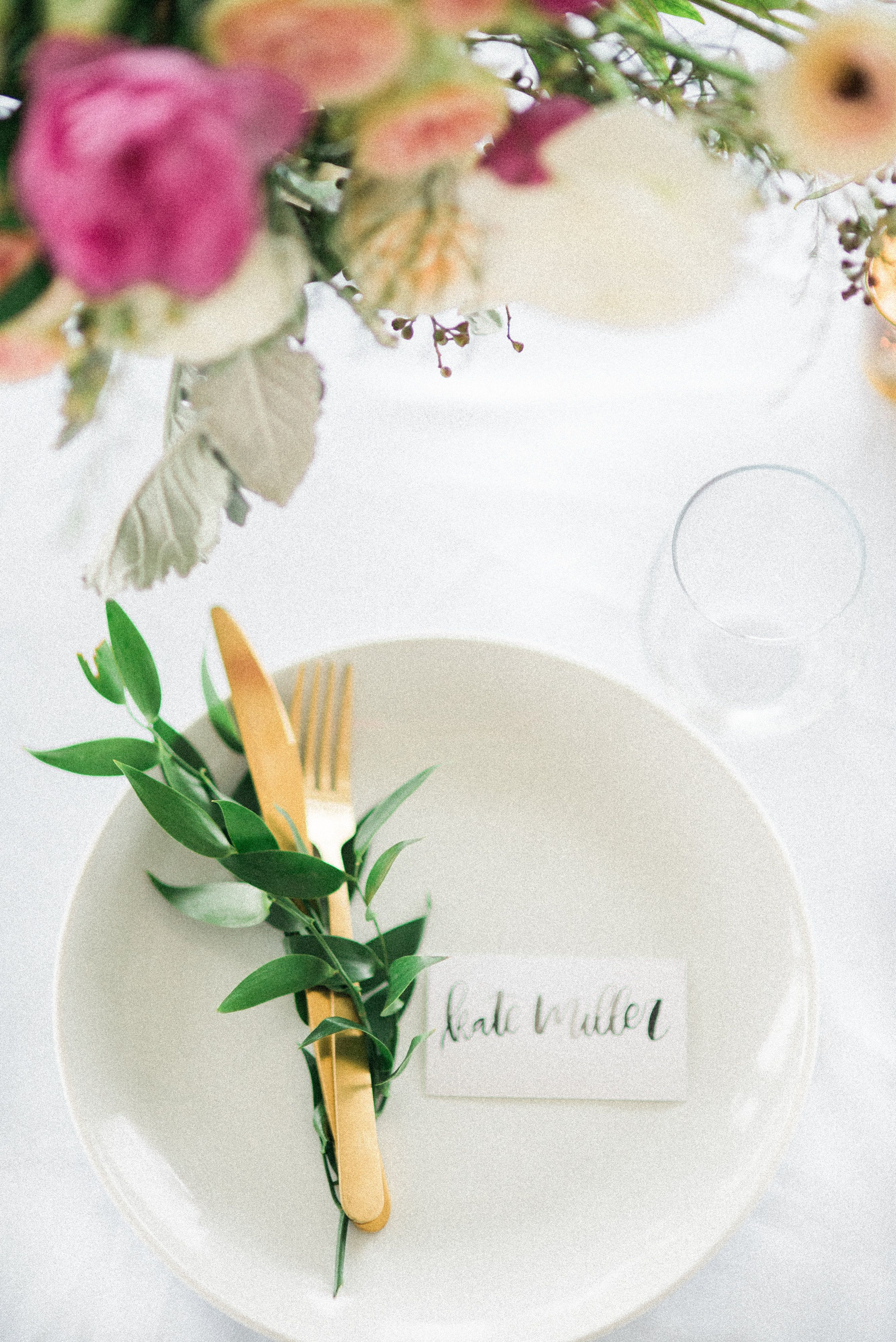 Garden Wedding - Gorgeous place setting! Sunkissed Blooms floral design photographed by Lyndsey A Photography at Ashley Inn in Kentucky. Wedding florals with lots of lush greenery and garden-inspired natural textures.
