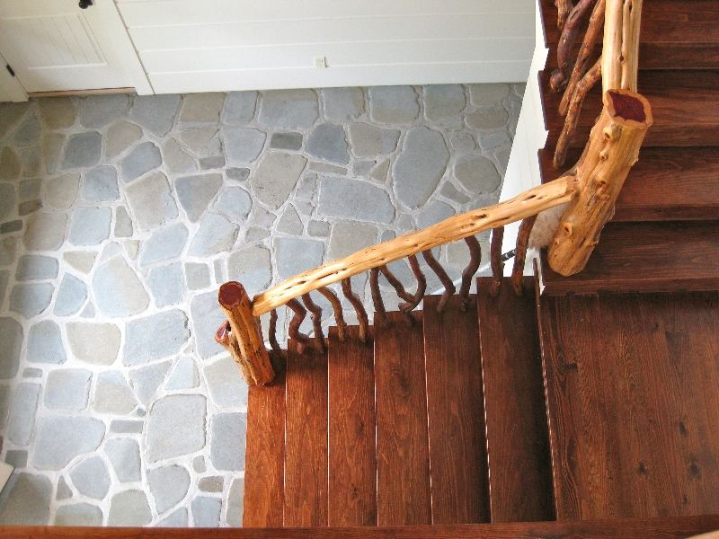 Rustic stair rail. | Rustic stairs, Cabin decor, Rustic house