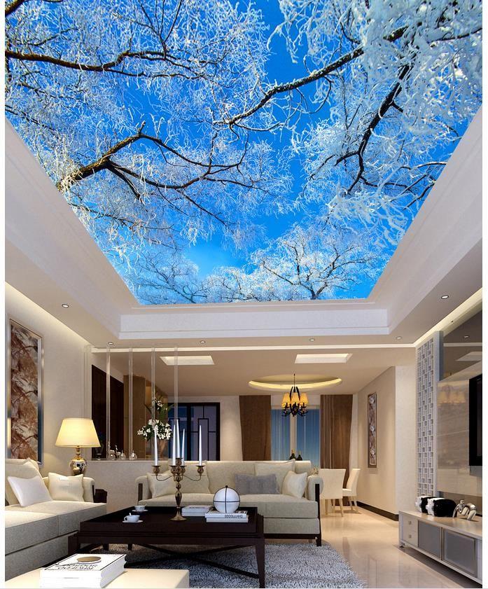 Blue sky tree ceiling living room TV backdrop bedroom 3d photo ...