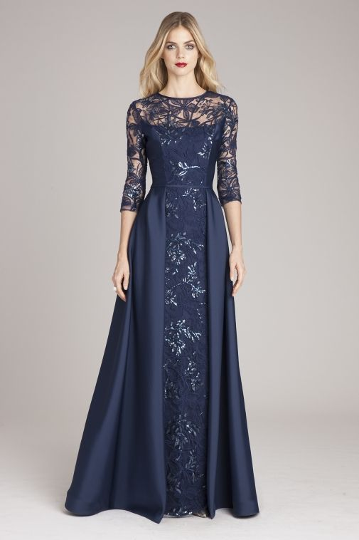 21735aac014 Lace Gown with Taffeta Overlay