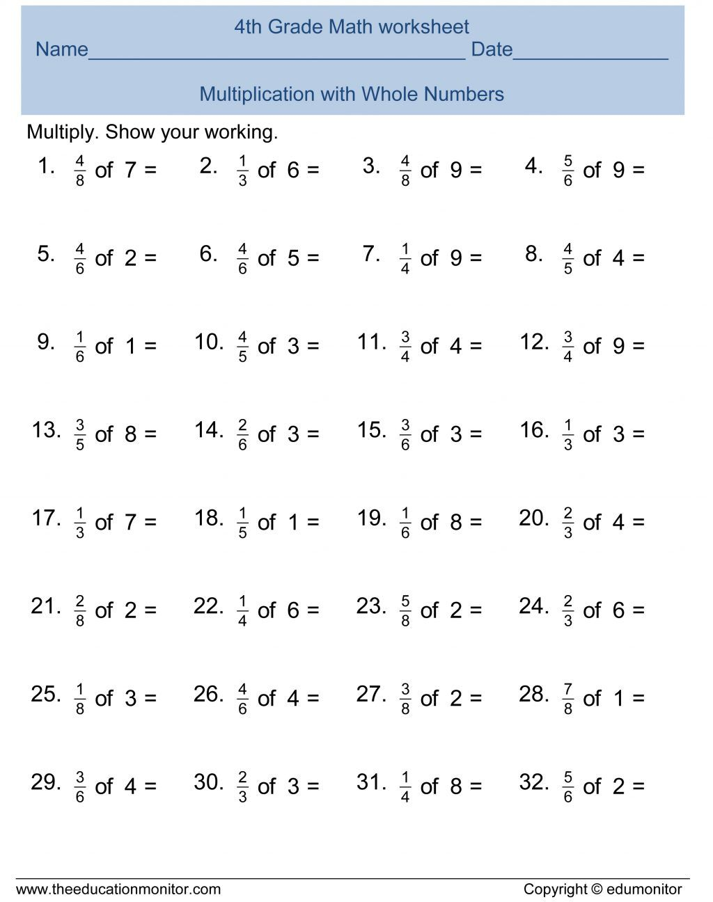 Grade Addition Fractions Worksheet Fraction Worksheets 5th